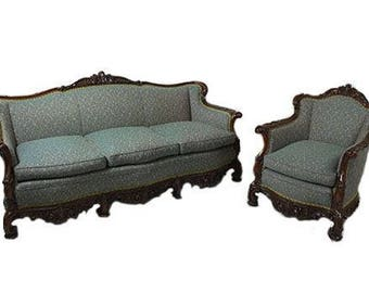 Emerald Patterned Rococo Three Seat Sofa + Armchair