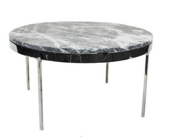 """30"""" Zographos Grey Marble Round Side Table"""