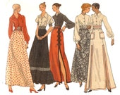 Boho Maxi Slit Skirt and Blouse Vogue 8286 Misses' Sewing Pattern Uncut Circa 1970 Size 8 Bust 31.5
