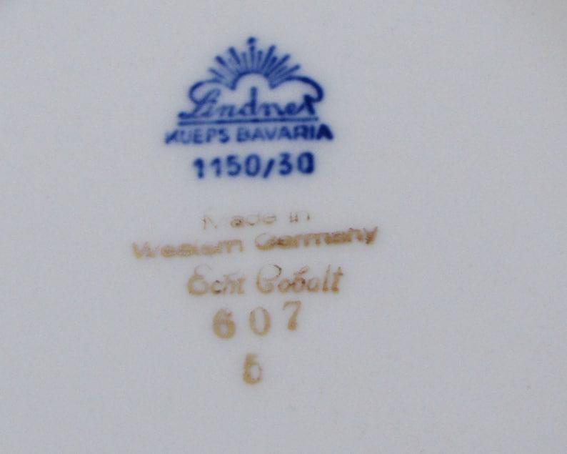 Lindner Cake Plate Echt Cobalt Blue Gold Rose Floral Bouquet Serving Tray