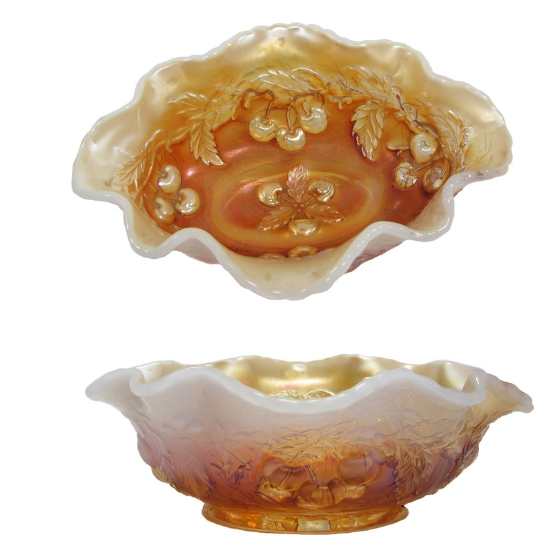 Art Deco Dugan Carnival Peach Opal Slag Glass Berry Bowl Wreathed Cherry Oval