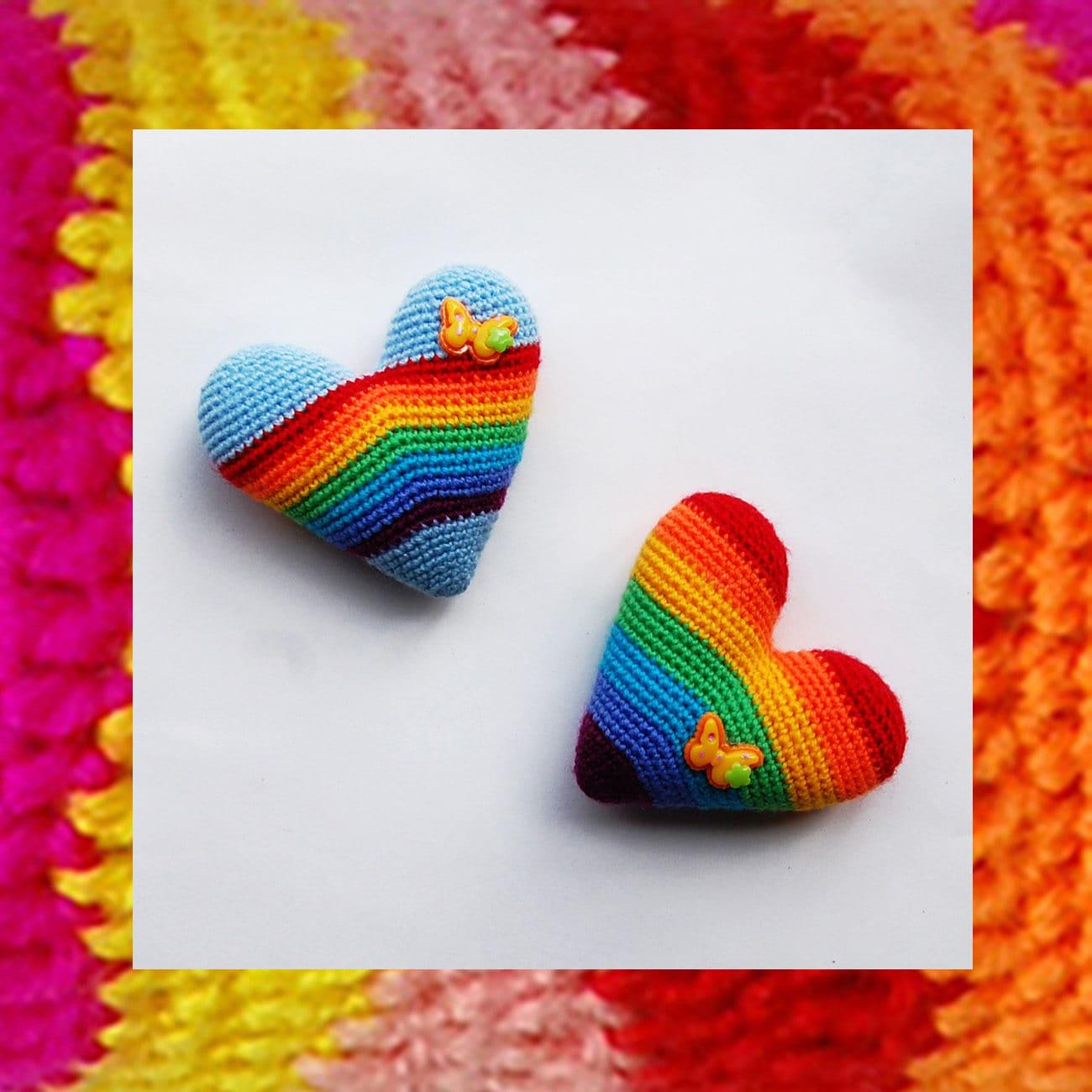 072 Crochet Heart Pattern Rainbow Heart Amigurumi Pattern Etsy