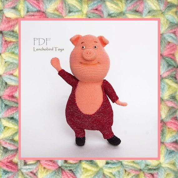 023 Amigurumi pig pattern Crochet pattern Crochet piggy Miss Gruntie Piglet art doll Amigurumi animal toy