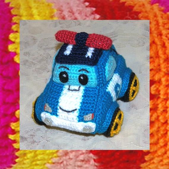 031 Amigurumi Car Pattern Crochet Poli Robocar Cartoon Toy Etsy