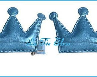 Beautiful set of 2 blue crowns with Alligator Clip