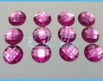 1 set of 5 round rhinestone pink 14 mm stick