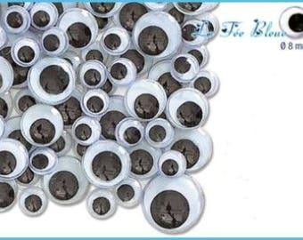 Set of 60 mobile Black 8 mm eyes to stick