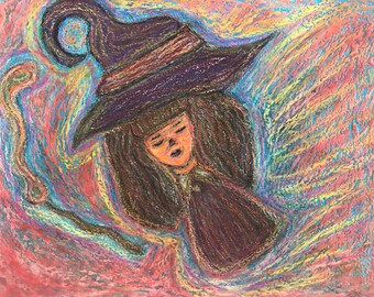 Little Witch, pawn of the sky, free falling- original chalk pastels painting, 28x22 cm, one of a kind
