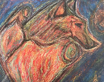 Wolf-hearted, Original Painting in chalk pastels, 28x22 cm
