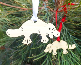 platypus christmas laser cut decoration bamboo decoration eco friendly australian decoration