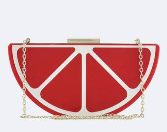 30% OFF - Red Citrus Statement Clutch