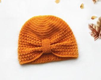 Pumpkin Orange Baby Turban Hat, by NOTON by Raquel for KIDS