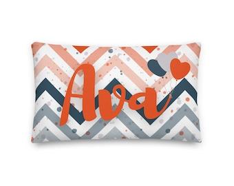 Ava Rectangular Throw Pillow 20x12, Baby Name Pillow, Personalized Pillow
