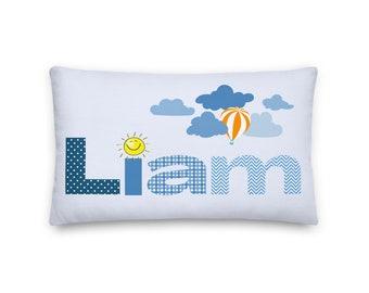 Liam Rectangular Throw Pillow 20x12, Baby Name Pillow, Baby Boy Personalized Pillow
