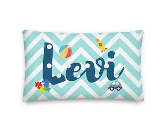 Levi Rectangular Throw Pillow 20x12, Baby Name Pillow, Personalized Pillow