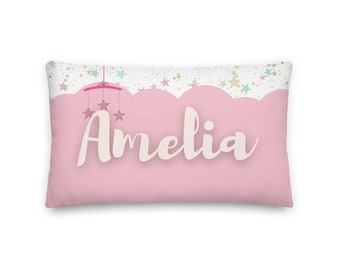 Amelia Rectangular Throw Pillow 20x12, Baby Name Pillow, Personalized Pillow