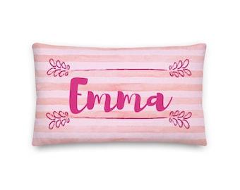 Emma Rectangular Throw Pillow 20x12, Pink Kids Pillow, Children Personalized Pillow