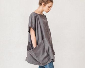 Oversized dark platinum grey linen tunic, Linen tunic with two big pockets, Tunic, Minimal linen tunic, Linen tunic, Stone washed