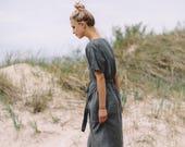 Wrap linen dress/ Maternity dress / Oversized linen dress / Summer dress / Linen dress / Maxi linen dress