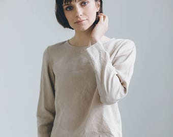 Ready to ship/ Linen blouse/ Linen blouse with long sleeves/ Basic linen blouse/ Linen top/ Linen shirt/ Washed linen clothes