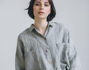 ce134f88 Linen shirt/ Drop shoulder shirt/ Oversized linen shirt/ Washed linen  clothes/ Linen blouse/ Linen everyday shirt
