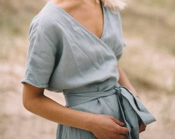 Mimosa sea green dress - Wrap linen dress - Maternity linen dress - Oversized linen dress - Summer dress - Linen dress