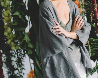 Juta platinum grey jacket - Linen jacket - Linen loose jacket - Oversized linen jacket -Cocoon coat