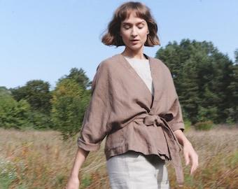 Rene heavy cacao jacket - Heavy linen jacket - Linen coat - Washed linen coat - Linen cardigan