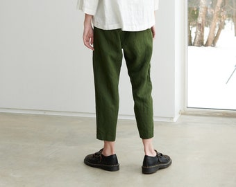 Mara forest green trousers - Tapered linen pants - Linen trousers - Linen pants - Washed linen pants - Summer linen pants