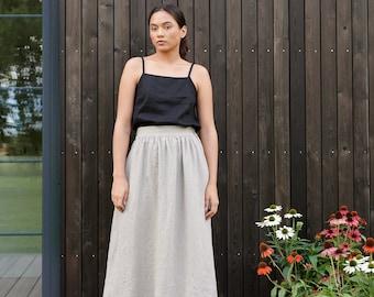 Ready to ship - Lina natural grey skirt - Maxi linen skirt - Linen skirt - A line linen skirt - Long linen skirt
