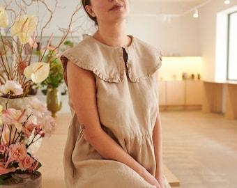 Ready to ship - Molly beige dress - Long linen dress - Summer linen dress