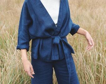 Ready to ship - Rene linen jacket - Medium weight linen jacket - Linen coat - Washed linen coat - Linen cardigan