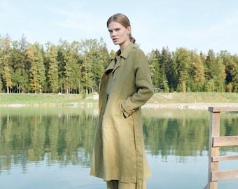 Lou heavy olive coat - Linen trench coat - Linen coat - Linen jacket - Fall linen coat