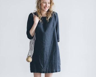 Shift dress/ Linen simple dress/ Basic linen dress/ Loose dress/ Washed linen dress/ Soft linen dress/ Linen tunic/ #11 JANID
