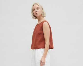f09671d9885776 Linen crop top  Basic linen top  Linen tank top  Linen blouse  Soft linen  clothing  Washed linen top