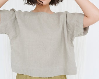 Plus Size Linen White Blouse White Linen Top Minimalist Clothing Casual Top Loose Top Oversize Top Summer Linen Top Linen Clothing