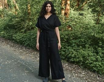 Aimee black jumpsuit - Linen jumpsuit - Loose linen Jumpsuit - Linen overall - Linen women romper - Linen clothes - Wrap jumpsuit