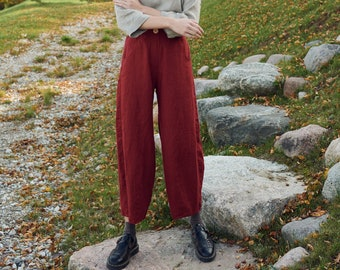 Frankie burgundy red trousers - Barrel trousers - Linen trousers - Loose linen pants - Linen pants