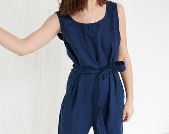 Evelyn navy blue jumpsuit - Linen jumpsuit - Linen overalls - Loose linen Jumpsuit - Linen women romper - Linen clothes
