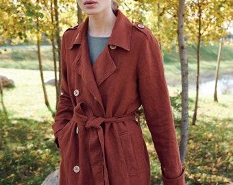 Lou heavy terracotta coat - Linen trench coat - Linen coat - Linen jacket - Long linen jacket