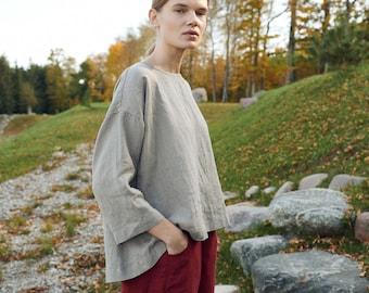 Harper natural grey tunic - Linen blouse - Linen tunic - Linen shirt - Linen top - Loose linen blouse