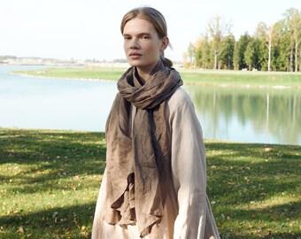 Linen scarf - Softened linen scarf - Long linen scarf - Unisex linen scarf - Linen scarves
