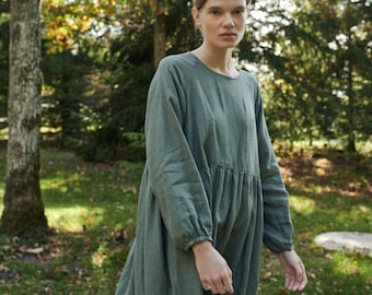 Margo pine green linen dress - Linen dress - Fall linen dress - Long linen dress