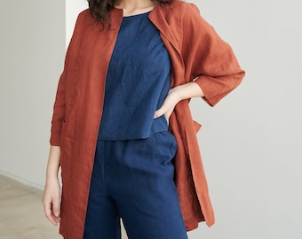 Juniper terracotta jacket - Linen jacket - Linen coat - Oversized linen jacket - Linen cardigan - Minimal linen jacket