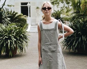 f1ac2087caf Pinafore dress  Garden dress  Summer dress  Everyday linen dress  Soft linen  dress  Washed linen dress