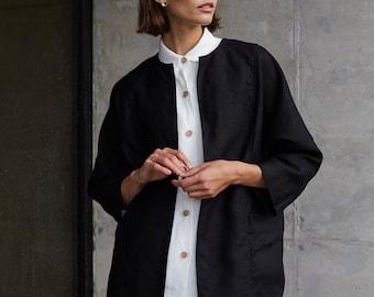 Juniper heavy black jacket - Heavy linen jacket - Linen coat - Soft linen jacket - Washed linen coat - Linen cardigan