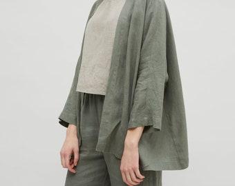 1e4335d57f Linen jacket   Linen kimono jacket   Oversized linen kimono   Kimono jacket    Cocoon coat   Kimono cardigan   Casual linen jacket