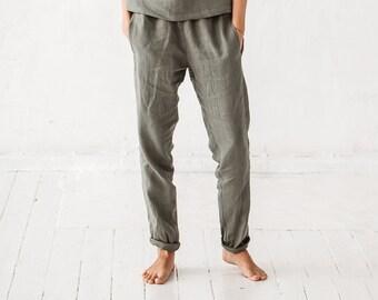 Tapered linen pants/ Classic linen pants/ Maternity clothes/ Maternity pants/ Washed linen pants/ Soft linen pants/ Loose pants/ #5 NOVA