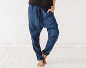Harem pants, Linen pants, Woman pants, Navy blue pants,  Trousers Eco friendly, Stone washed linen, French linen, Linen clothes