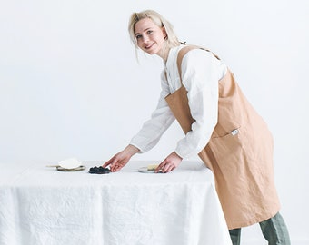 Pinafore apron/ Japanese apron/ Workshop apron/ Pinafore/ Linen cross back apron/ Pinafore dress apron/ Smock apron/ #25 BOLD